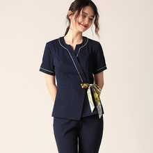 Spring Summer New Beautician Workwear Air-permeable Short-sleeve Suit Foot Bath Therapy Club Workersclothes