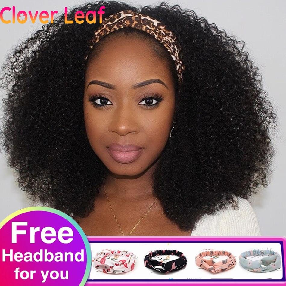 Clover Leaf Special Curly Head Band Wigs Human Hair 150% Remy Indian Headband Wig Full Machine Made Gluess Headband Scarf Wig