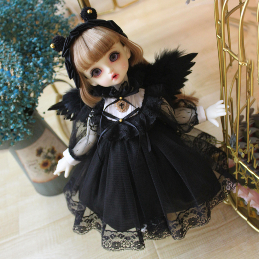 Modiker White Black Angel Clothes Set for 1/6 1/3  BJD Dolls Accessories - No Doll