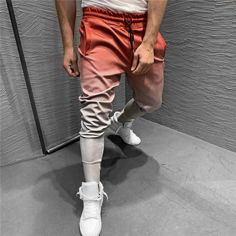 Sonbahar Degrade Sonbahar Spor Salonları Erkekler Joggers Sweatpants erkek Joggers Pantolon Spor Giyim Yüksek Kaliteli Vücut Geliştirme Pantolon