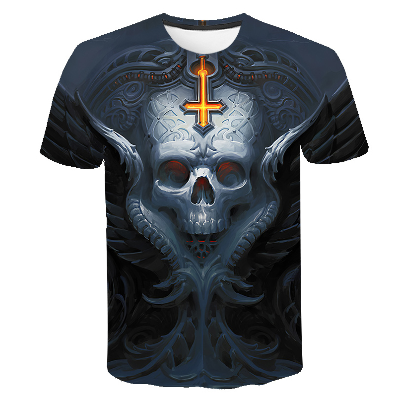 Fashion 3D Printed Men/'s T-shirt Clothing Casual Short Sleeve Tops Skull 2019