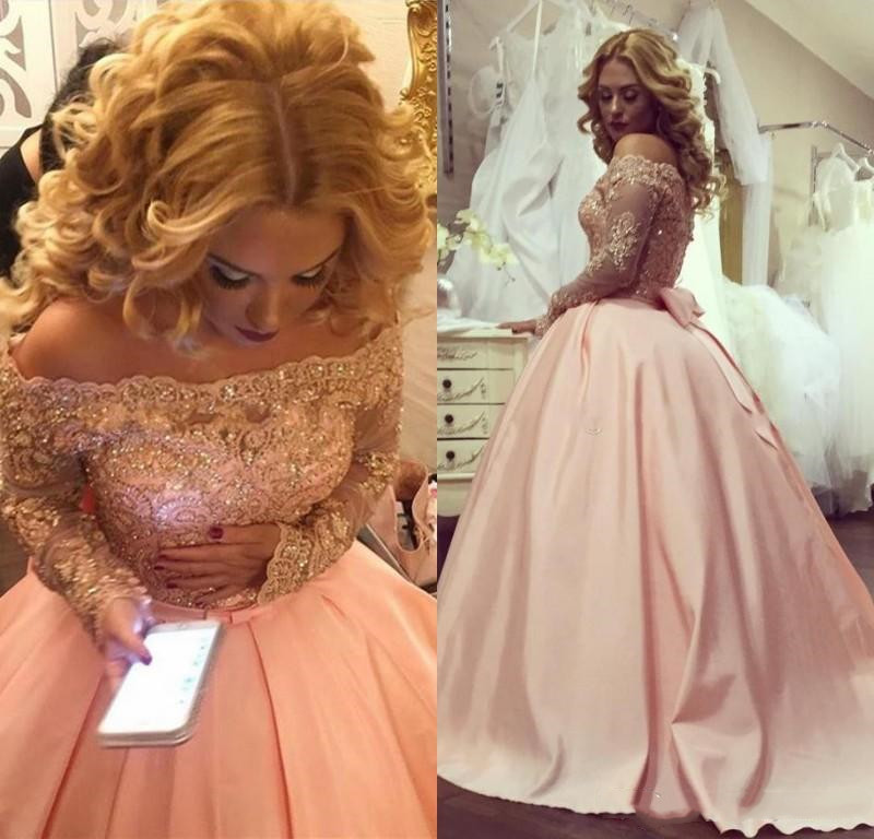 2019 Pink Vintage Quinceanera Dresses Ball Gown Off The Shoulder Lace Crystal Beaded Long Sleeves Vestidos De 15 Boat Neck