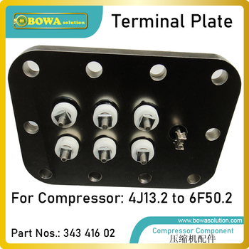 Terminal plate is for motor electric wiring, compatible with from 4G13.2 to 6F50.2 model semi-hermetic refrieration compressors