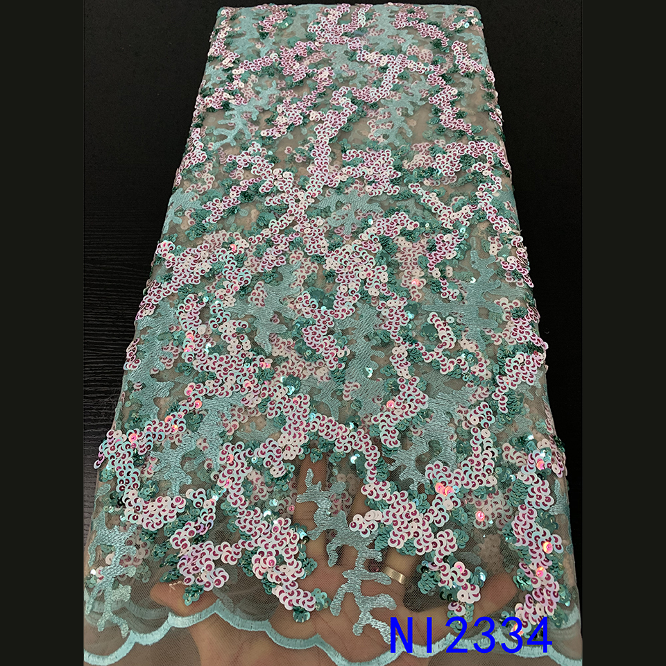 Latest 2019 French Net Lace Tulle Mesh Lace Sequence Lace Fabric French High Quality Lace Sewing African Lace Fabrics NI2334-6