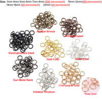 (T12973)3mm 4mm 5mm 6mm 7mm 8mm 10mm 12mm 14mm 16mm 20mm Round Iron Jump Rings Single Loop Diy Findings