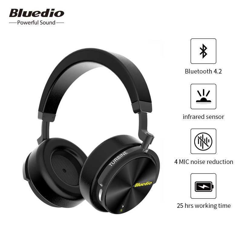 Original Bluedio T5S Wireless Bluetooth Headphone Active Noise Cancelling Portable Headset with Microphone 3D Stereo Sound Music