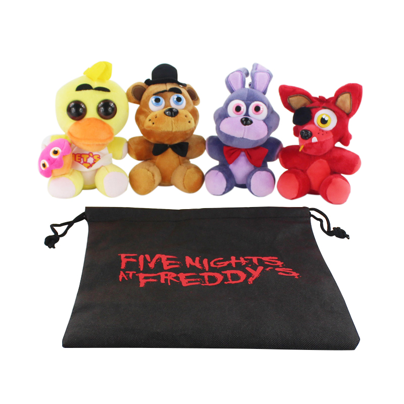 4pcs/SET In Bag Cartoon Movie FNAF Foxy Bonnie 5 Five Nights At Freddys Plush Doll Toy Chica Fazbear Fever Soft Stuffed