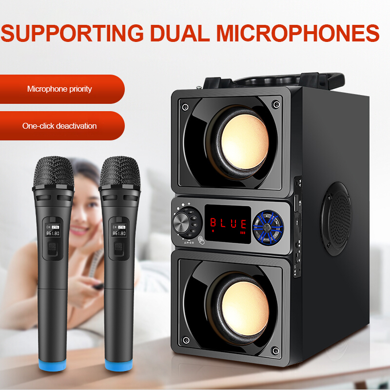 Portable Speaker Bluetooth 5.0 Outdoor Wireless 6D Surround Stereo FM Radio Microphone Support TF Card KTV Party Subwoofer 5
