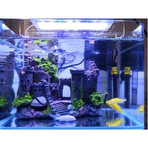 Image 5 - 新しい樹脂人工魚タンク古代城の装飾水族館ロック洞窟建築装飾水生造園飾り