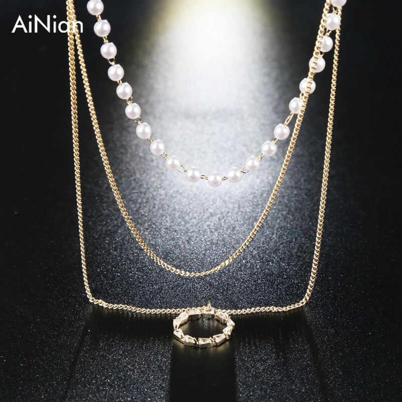 Collier de collier ras du cou en perles multi-couches collier pendentif en cristal femmes bijoux