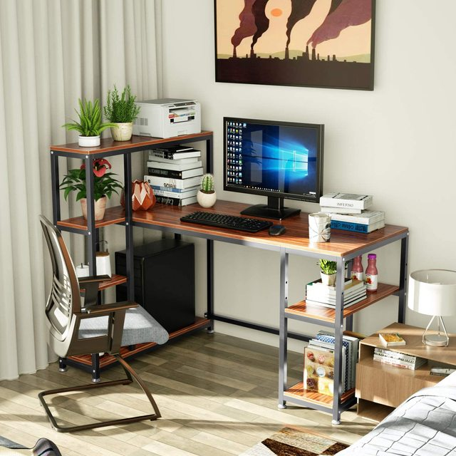 55 Inch Computer Desk  Table with Side Storage Shelf  2