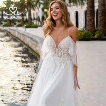 Beach Appliques A Line Wedding Dress Sweetheart 2 In 1 Illusion Backless Vestido de novia Princess Swanskirt D132 Bridal Gown