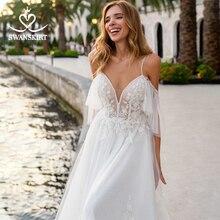 Plaj aplikler A Line düğün elbisesi sevgiliye 2 In 1 Illusion Backless Vestido de novia prenses Swanskirt D132 gelin kıyafeti