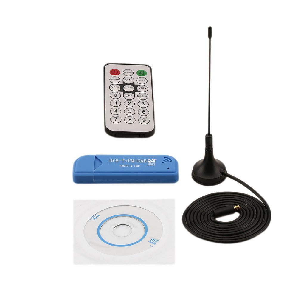 Цифровой тв-тюнер DVB-T SDR + DAB + FM HD, USB 2,0, 1 комплект, приемник RTL2832U + R820T2, антенна с дистанционным управлением