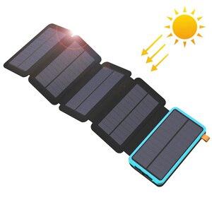 Внешний аккумулятор 20000 мАч на солнечной энергии, Внешнее зарядное устройство для iPhone, iPad, Samsung, Huawei, Xiaomi, LG, Sony