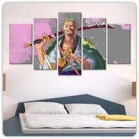Lienzo en módulos para decoración del hogar, conjunto de 5 cuadros de dibujos animados de Zoro de una pieza, moderno cartel impreso para arte de pared de salón