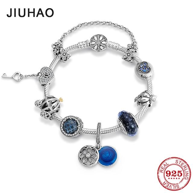 Murano glass blue pendant 925 Sterling Silver Charm snake bone chain Bracelets sparkling Beads fashion jewelry women accessories