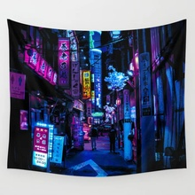 Tokyo s Blade Runner Vibes Wall Tapestry Wall Hanging Wall Art Coverlet Bedding Blanket Sheet Throw
