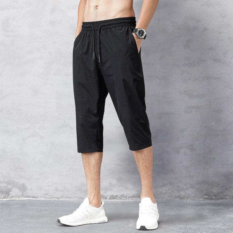 Men's Long Shorts Men's Shorts Summer Breeches 2020 Thin Nylon 3/4 Length Trousers Male Bermuda Board Quick Drying Beach Black