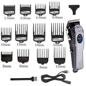 Image 2 - ספר אלחוטי גוזז שיער מקצועי גברים שיער גוזם LCD חשמלי שיער מכונת חיתוך usb נטענת תספורת