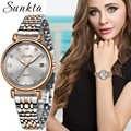 SUNKTA 女性すべて鋼腕時計女性シンプルなダイヤモンド時計カジュアルファッションスポーツ防水腕時計レロジオ Feminino