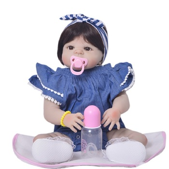 New Style 23'' Realistic Reborn Baby Girl Doll Full Silicone Vinyl Adorable Girl Baby Toy Wear Cowboy Romper Kid Birthday Gift