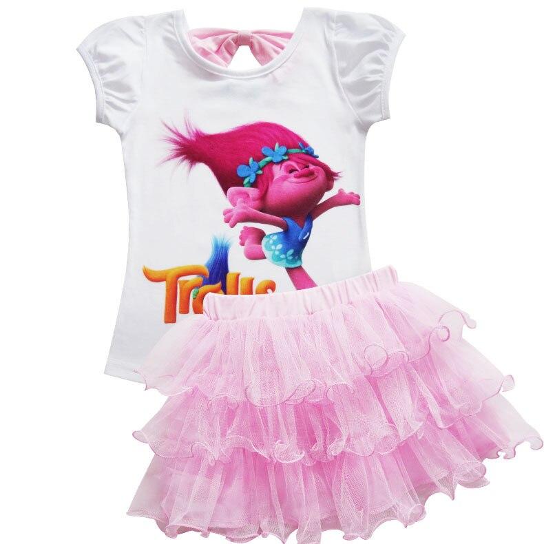 Toddler Girls Summer Casual Poppy Skirt Cartoon Troll's Vampire Vestidos Wig Legging Baby Girls Clothes Dress For Kids Costume 3
