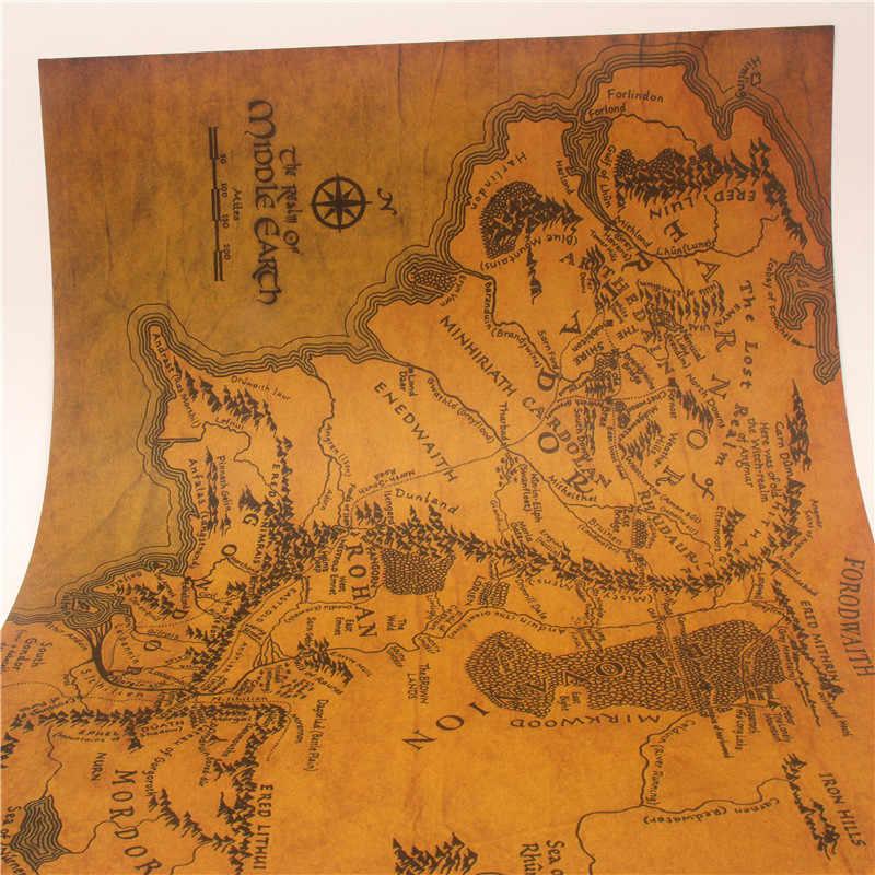 Stiker Dinding Wallpaper Mural Vintage Bumi Tengah Peta Di The Lord Of The Rings Poster Dekorasi Rumah Ruang Tamu Retro kertas Kraft