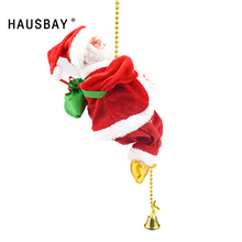 Christmas Santa Claus Climb Beads Electric Singing Toy Tree Pendant Decorations Creative Gift For Children X013