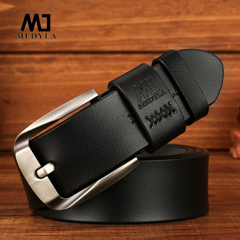 MEDYLA Men's Natural Leather Belt Exquisite Steel Buckle Men's Business Casual Belt Flexible Suit Belt Without Interlayer