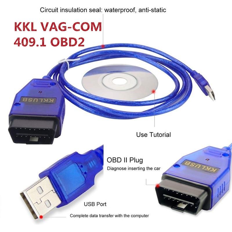 KKL Vag Com 409.1Interface Cable VAG-COM 409.1 Vag Com 409Com Vag 409 Kkl OBD2 USB Diagnostic Cable Scanner Scan Tool For V W