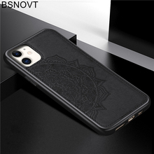 For iPhone 11 Case TPU Frame Cloth Fabric Flower Anti-knock Bumper Cover 2019 6.1 BSNOVT