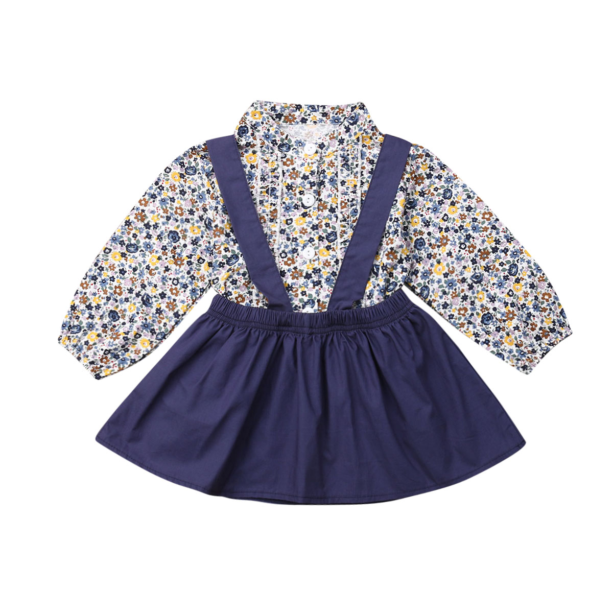 Kids Baby Girl <font><b>Skirt</b></font> Set Clothes Toddler Long Sleeve Floral Long Sleeve Shirt Tops+<font><b>Bib</b></font> <font><b>Skirts</b></font> Children Cute 2Pcs Outfits 6M-4Y image