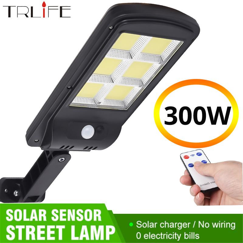 TRLIFE Powerful Remote Control Upgraded COB Solar Light PIR Motion Sensor IP65 Outdoor Solar Wall Street Light Waterproof Lamp