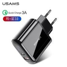 USAMS 18W PD chargeur 3.0 USB chargeur 3A charge rapide ue prise US adaptateur mural chargeur de téléphone portable pour iPhone x Samsung S10