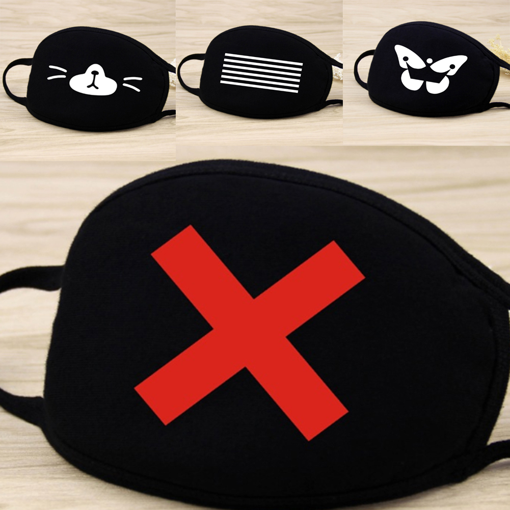 1Pc Unisex Winter Warm Thickening Half Face Mouth Mask Cotton Cartoon Pattern Anti-Dust Anti-Bacterial Respirator Classic Black