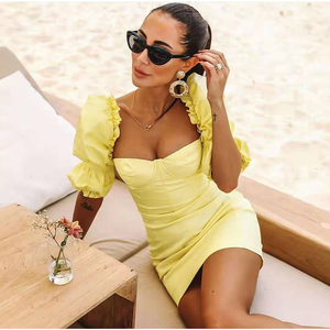 Image 3 - NewAsia Puff Sleeves Bodycon Dress Women 2019 Summer Vintage Push Up Party Dress Yellow Sexy Corset Padded Pencil Dress Mini