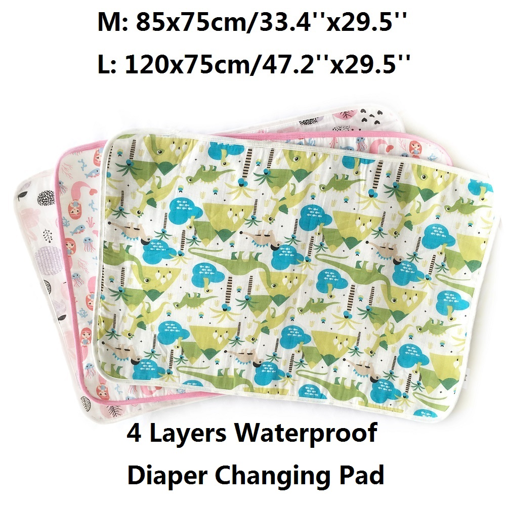 Muslin Changing Pad Covers 4 Layer Urine Pad Waterproof Changing Mat Reusable Baby Diapers Mattress Mats Newborn Durable Nappy