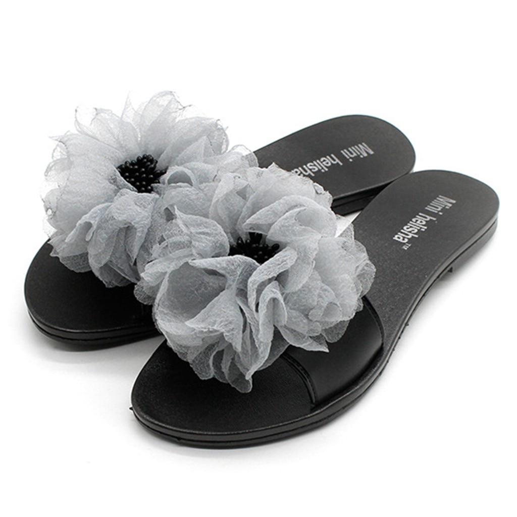 Elegant Flat With Slipper Sandals Foral