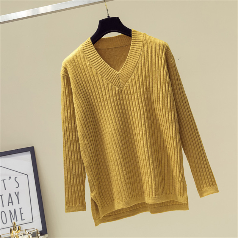 Stripe Knitwear Solid Sweety V-Neck Loose Soft Knitted Sweater Pullover Long Sleeve Fashion Sueter Mujer   Women Winter New 2019