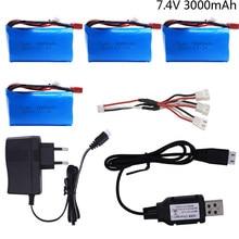 7.4 v 3000 mah recarregável lipo bateria 18650 t plug com carregador para q46 wltoys 10428 /12428/12423 rc carros brinquedos peças de reposição 7.4 v