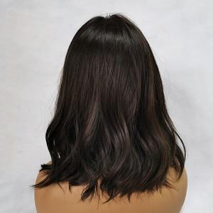 Image 3 - ALAN EATON Medium Wavy Black Brown Women Bobo Wigs with Bangs Synthetic Fiber High Temperature Fiber Female Heat Resistant
