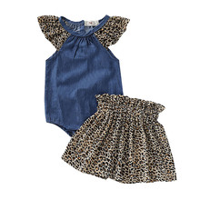 Get more info on the 2019 Fashion Infant Baby Girls Clothing Baby Girls Solid Denim Bodysuit Romper+Leopard Print  Shorts/Skirts Outfits Sets