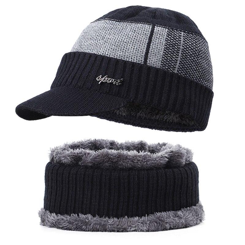 Новая мужская зимняя шапка, шарф с бархатными буквами, полосатая хлопковая шапка, нагрудник, 2 комплекта для мужчин и женщин, открытый теплый костюм, повседневный горошек - Цвет: Black