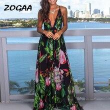 Multicolor Tropical Jungle Leaf Boho Long Dress Sling Cross Back Women V neck 2019 Party Night Elegant Sexy Maxi Summer Dresses jungle leaf print shell dress