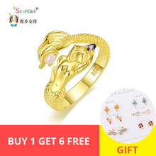 StrollGirl new golden mermaid rings with CZ 925 sterling silver opening adjustable rings for women jewelry support wholesale стоимость