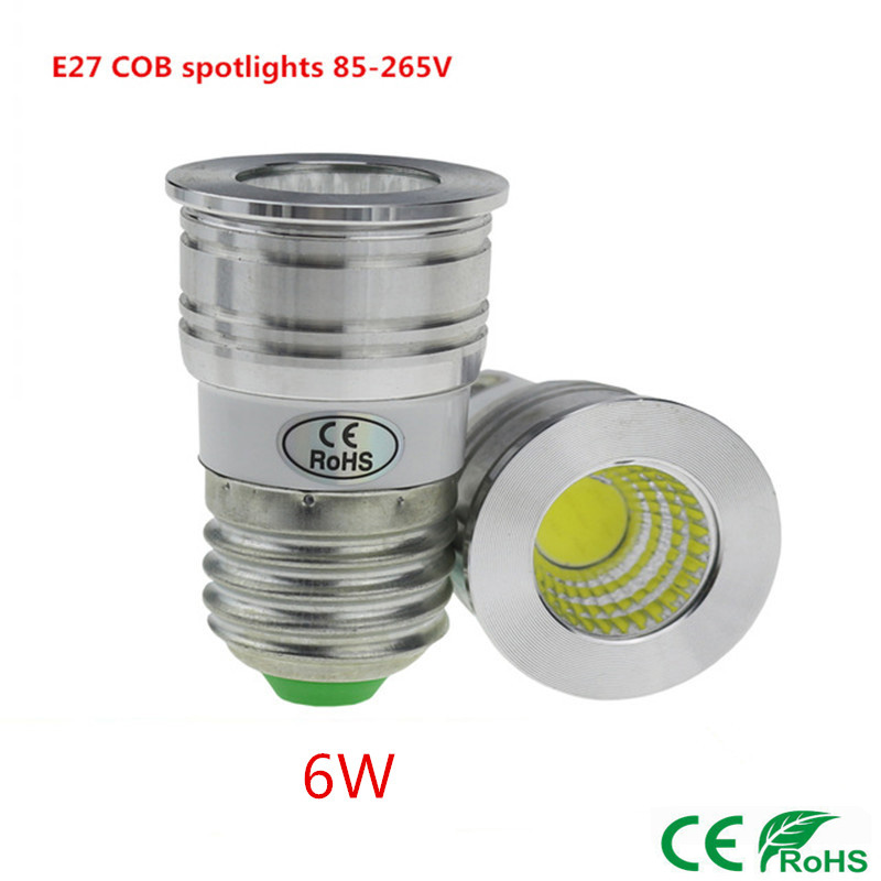 New products E27 COB spotlights 6W 85-265V dimmable LED bulbs Warm white / white energy saving lamps LED light cups