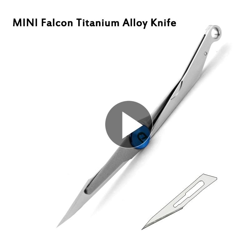 1x EDC Falcon Knife Titanium Alloy Self Defense Folding Utility Knife Surgical Blade Outdoor Portable Survival Rescue Mini Knife