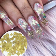 Золотые Мини Металлические бабочки блестящие металлические ногти