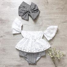 Летняя одежда для новорожденных девочек кружевные топы с открытыми